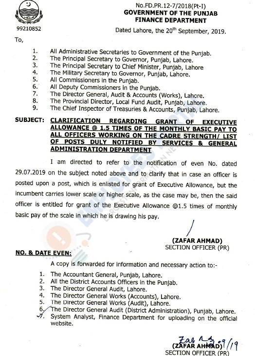 Grant of Executive Allowance Notification of 1.5 Times of Monthly Basic Pay to Officers