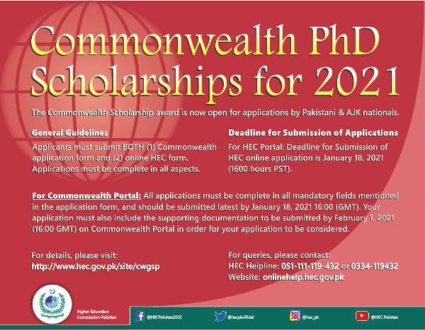 HEC Commonwealth Scholarships for United Kingdom 2021