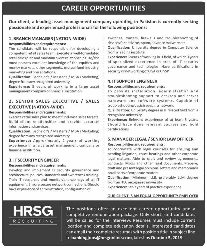 HRSG Recruiting Company Career Opportunities 2019