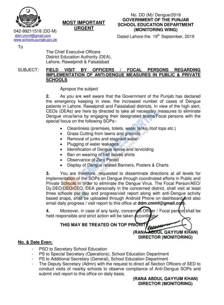 Implementation of Anti Dengue Measures in Public & Private Schools