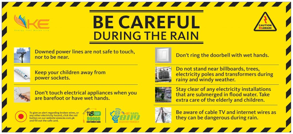 K-Electric Message Be Careful During the Rain for Karachi