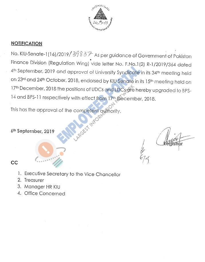 KIU Upgradation Notification of LDC and UDC 2019