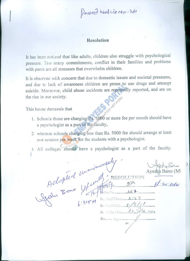 KP Assembly Resolution for Psychologists in Schools and Colleges