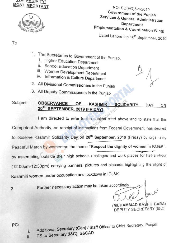 Kashmir Solidarity Day on 20 September 2019