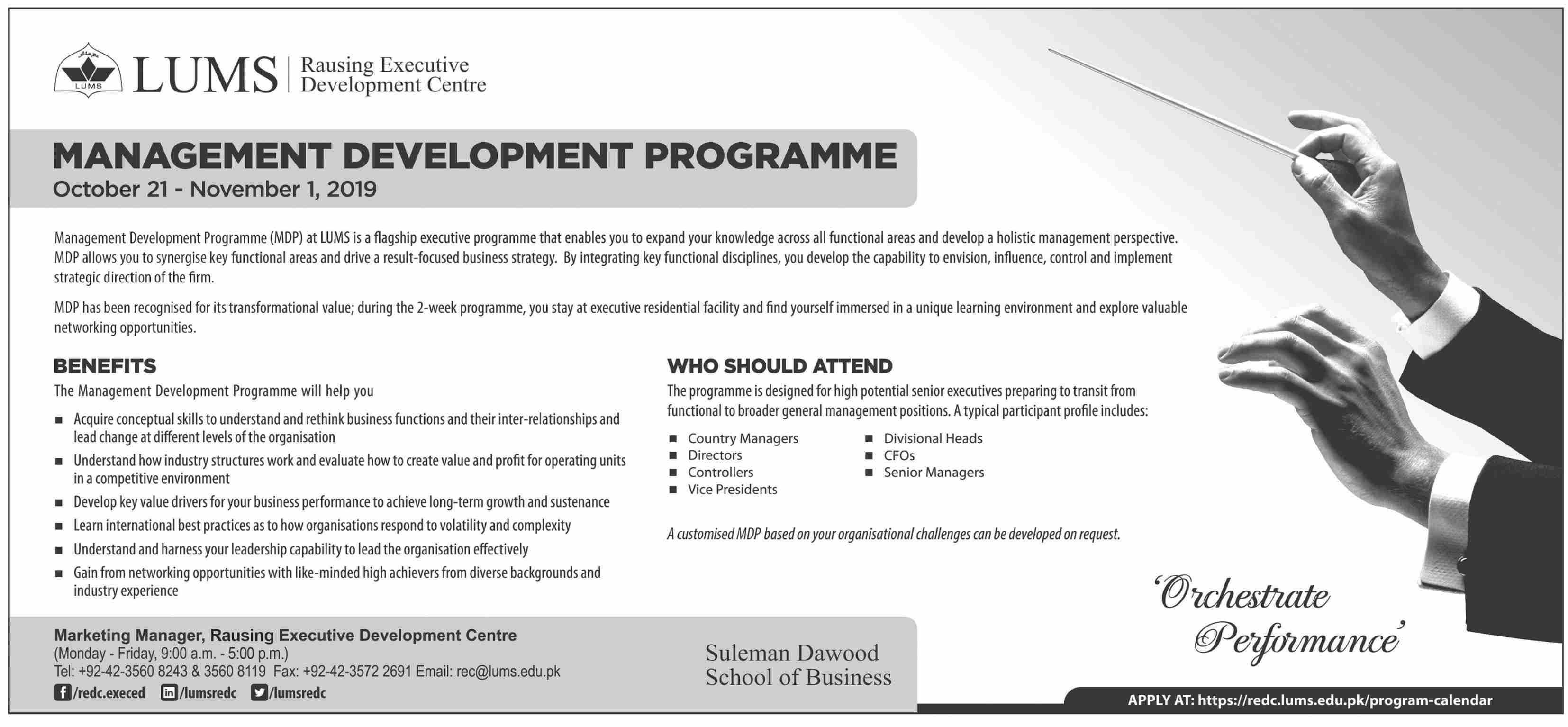 LUMS Management Development Program 2019