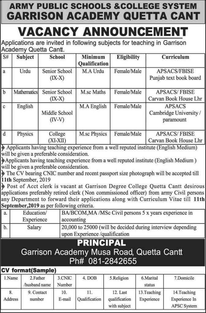Latest Army Public School and College System Jobs 7 September 2019