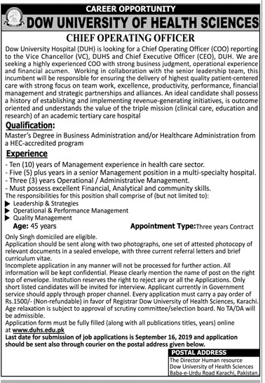 Latest Jobs Chief Operating Officer DOW University Of Health Sciences September 2019