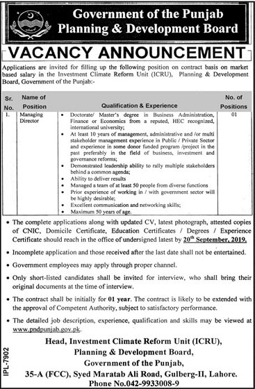 Latest Jobs Managing Director Planning and Development Punjab 02 September 2019