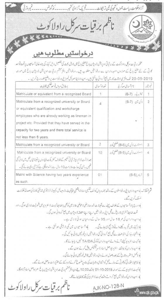 Latest Jobs Meter Reader, Line Man, Tresser for Azad Kashmir 04 September 2019