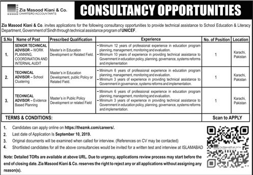 Latest Jobs Technical Advisor Zia Masood Kiani Co ZMK 02 September 2019