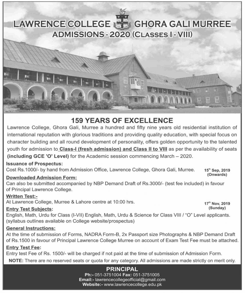 Lawrence College Ghora Ghali Murree Admissions 2020 Class 1 - 8