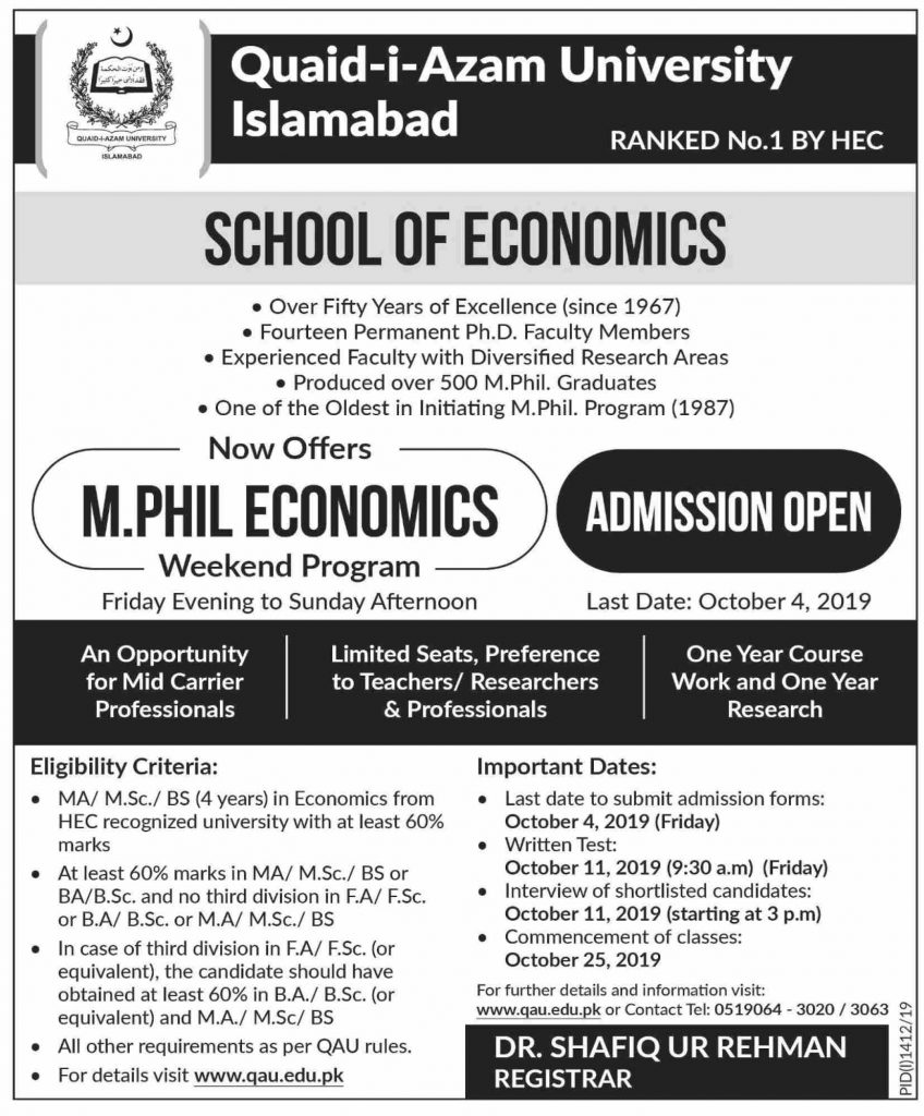 MPhil Economics Weekend Program Admission Open Quaid-i-Azam University Infographics