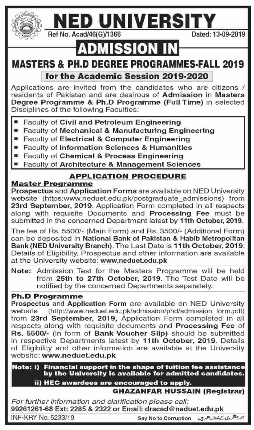 NED University Masters & PhD Admission Fall 2019