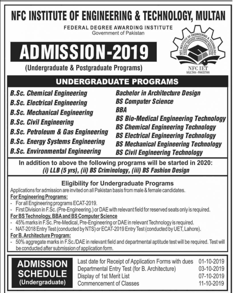 NFC Engineering University Multan Admissions Open 2019-20 Infographics