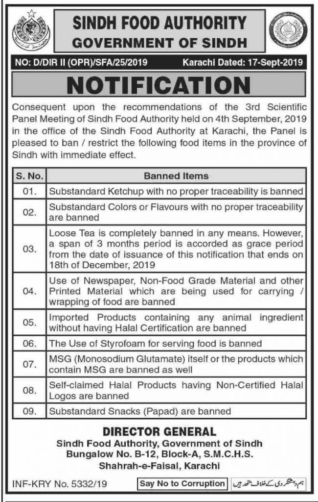 Notification of Ban Food Items in Sindh Karachi
