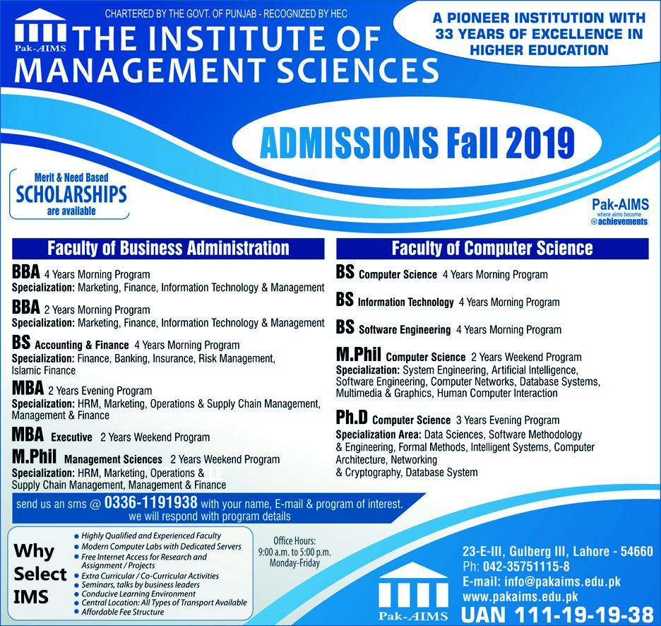 Pak AIMS Admissions 2019 Business Administration & Computer Science Infographics