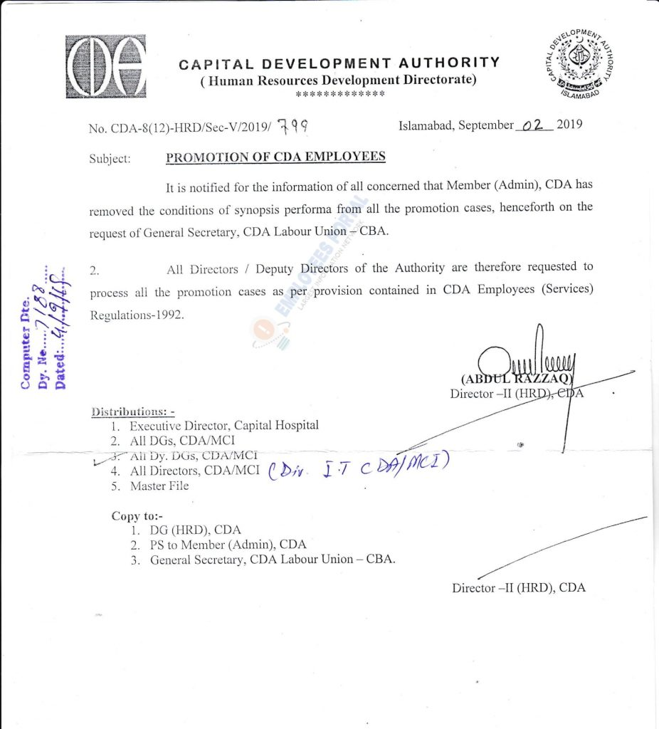 Promotion of CDA Employees 2019