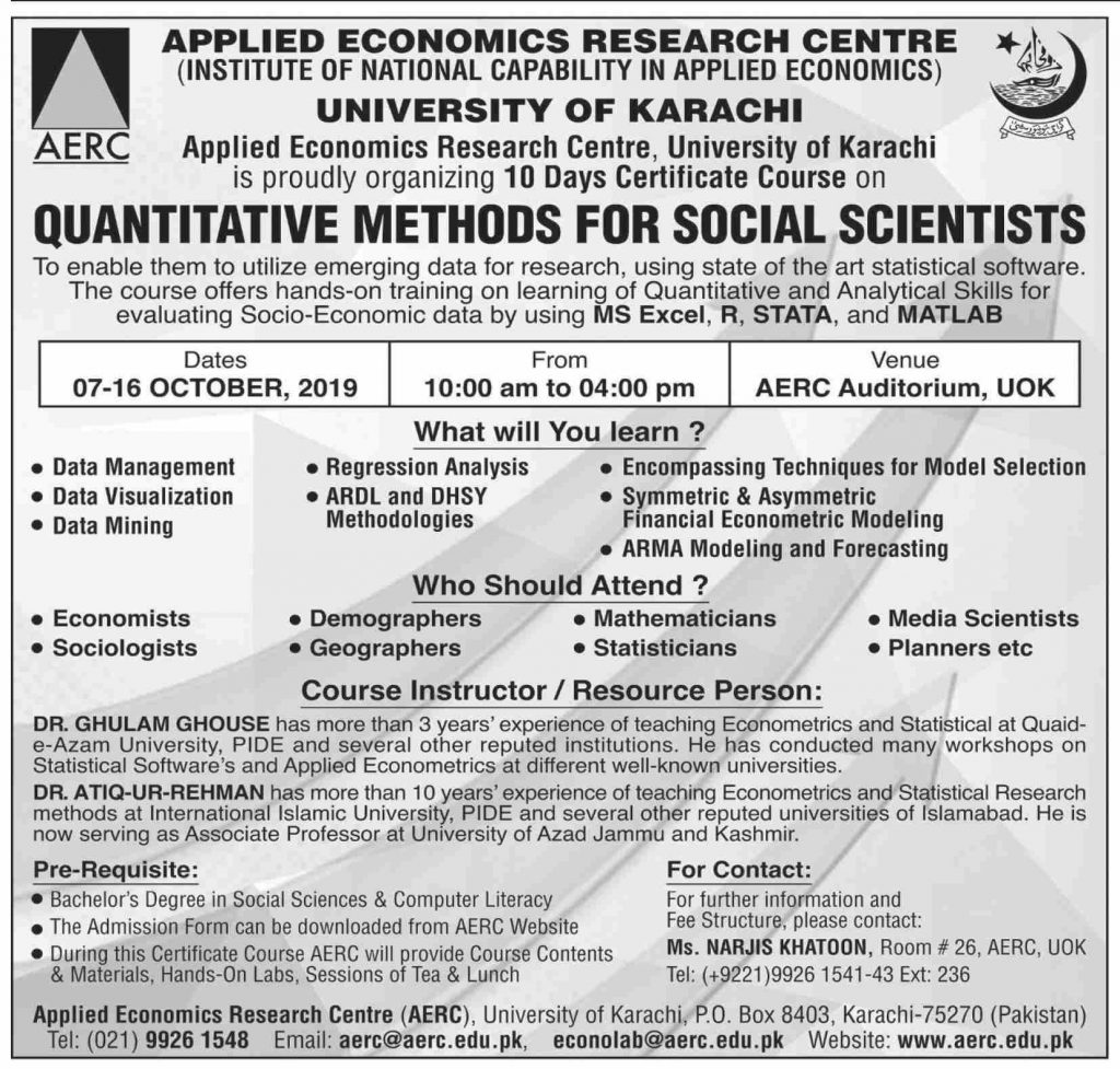 Quantitative Methods for Social Scientists 10 Days Certificate Course Admissions Open AERC University Infographics