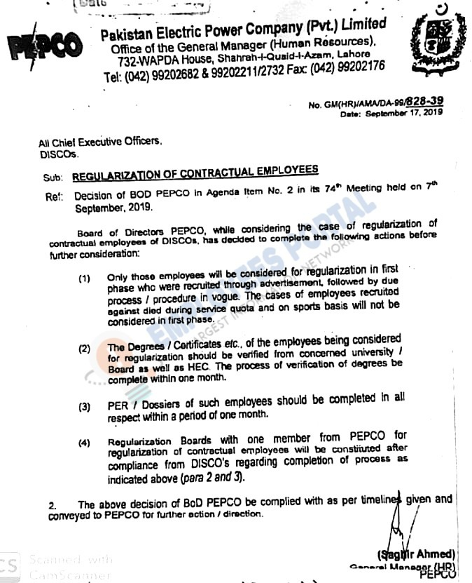 Regularization of Contractual Employees Notification DISCO