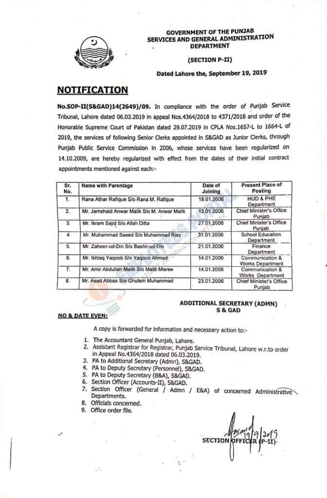 Regularization of Senior Clerks S&GAD Punjab from Joining Date