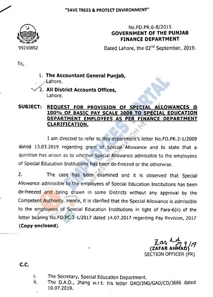 Revised Special Allowance for Special Education Department Employees