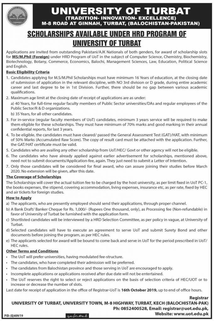 Scholarship for MSMPhil Foreign University of Turbat
