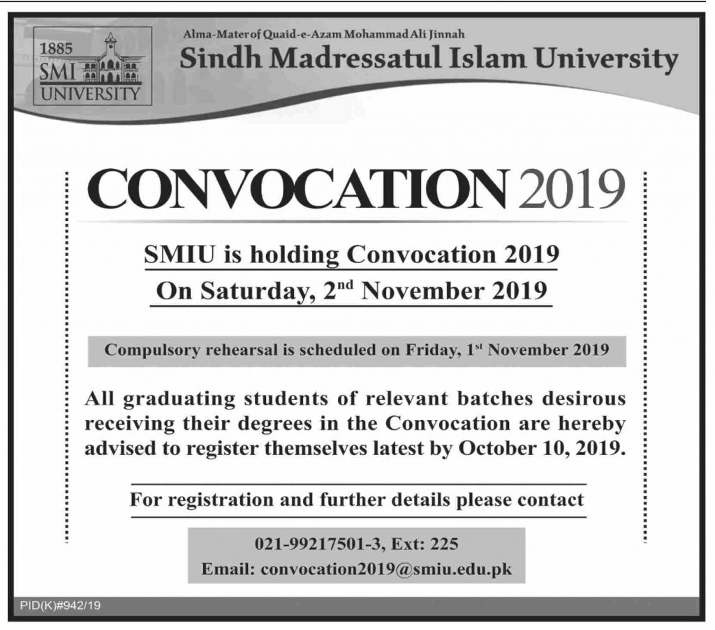 Sindh Madressatul Islam University Convocation 2019 Infographics