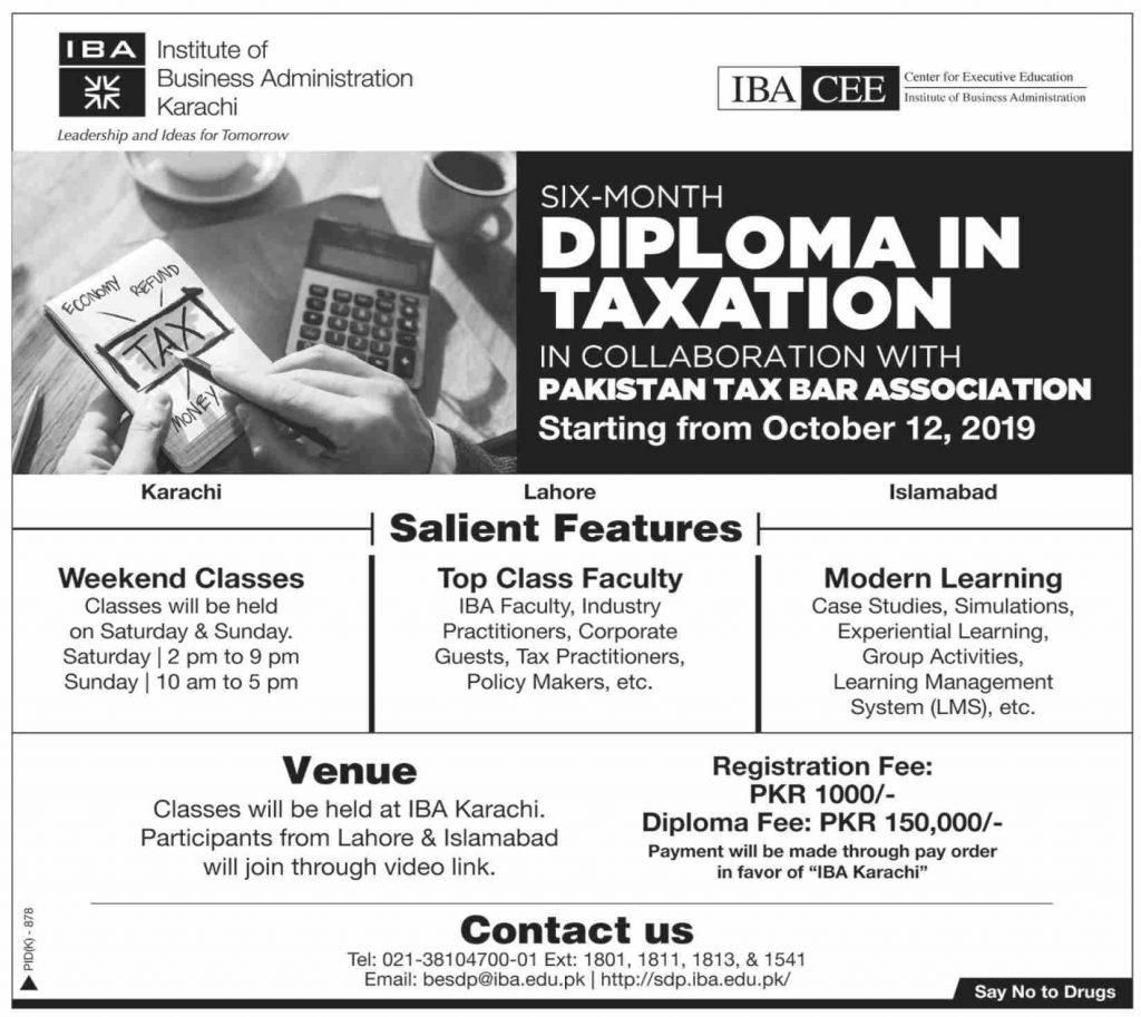 Six Month Diploma in Taxation IBA Karachi Infographics