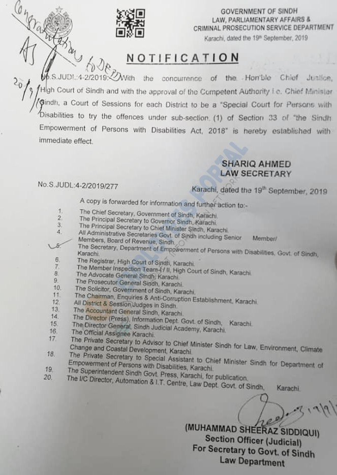 Special Court for Disable Persons Notification letter