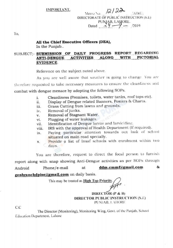 Submit Daily Progress Report regarding Anti-Dengue activities along Pictorial Evidence