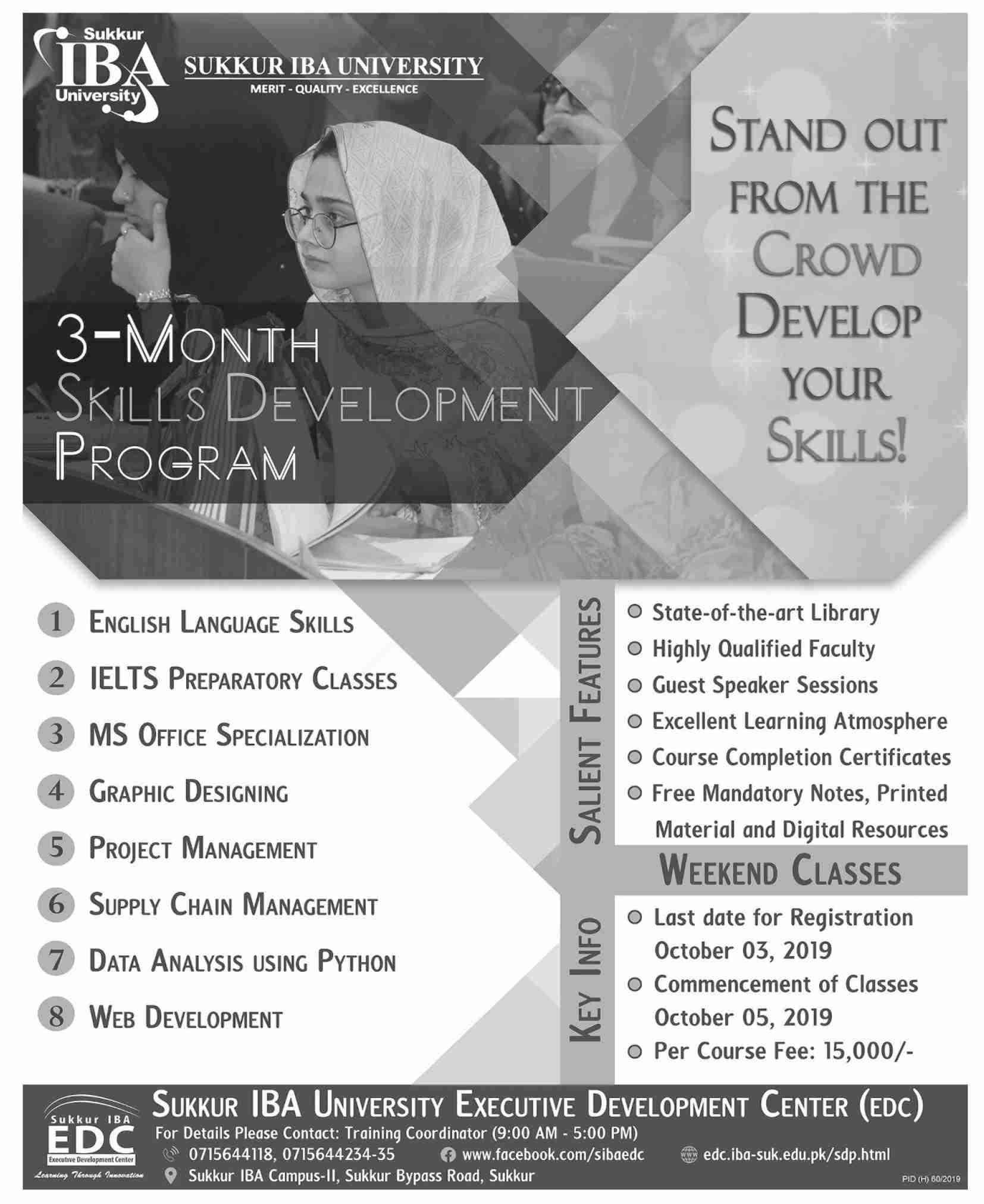 Sukkur IBA University 3 Month Skills Development Program