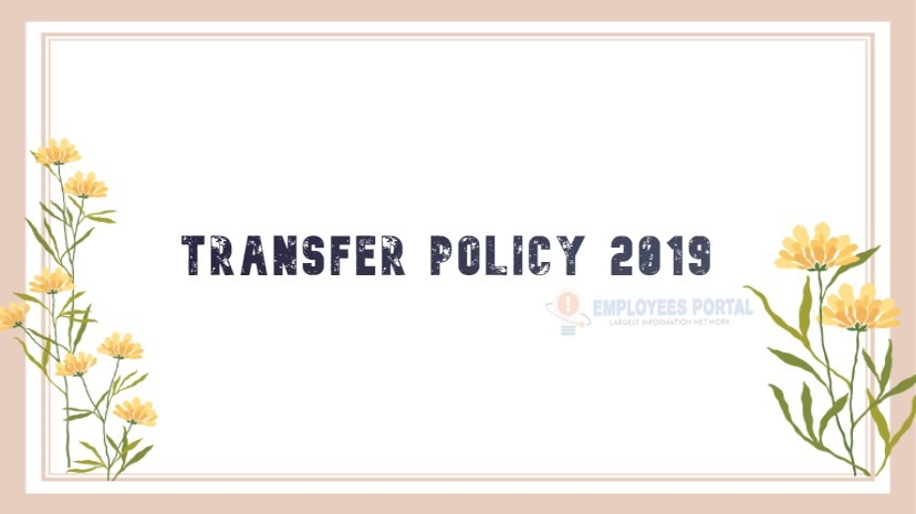 Transfer Policy 2019 Education Department