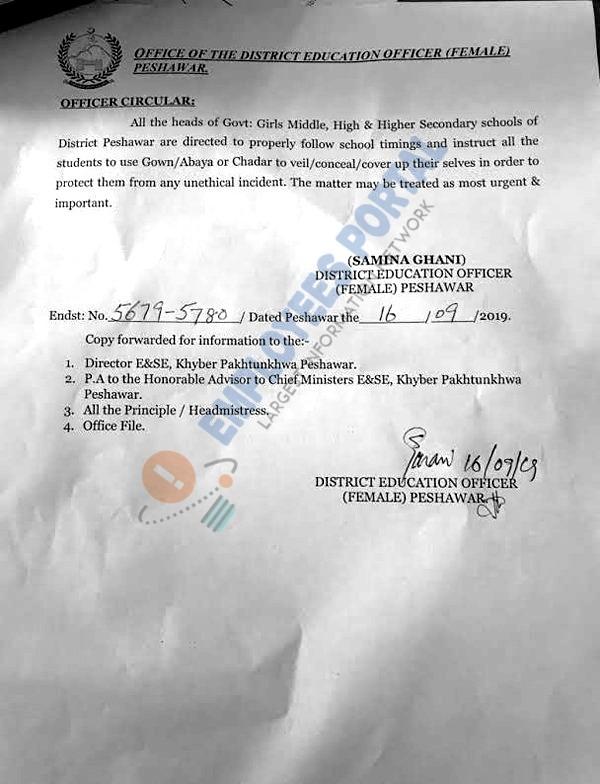 Use of Gown/Abaya during School Timing Peshawar