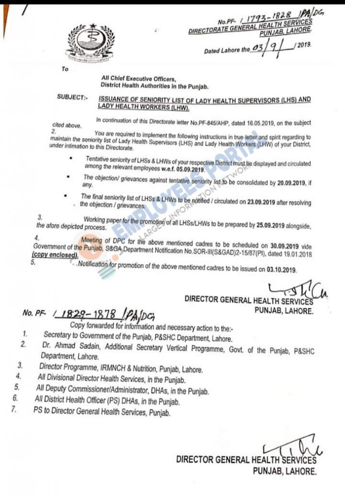 lady Health Supervisors and Lady Health Workers Seniority List 2019