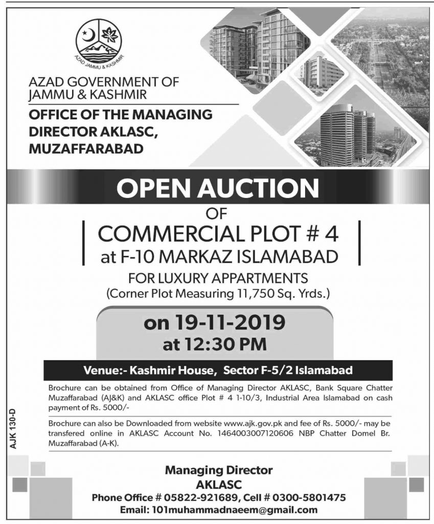 AJK Open Auction of Commercial Plot at F-10 Markaz Islamabad