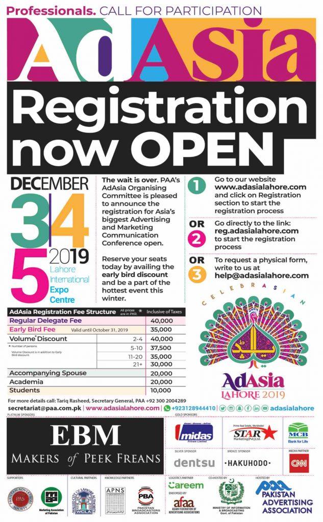 AdAsia Lahore 2019 Registration Open