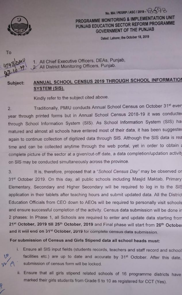 Annual School Census 2019 through School Information System (SIS)
