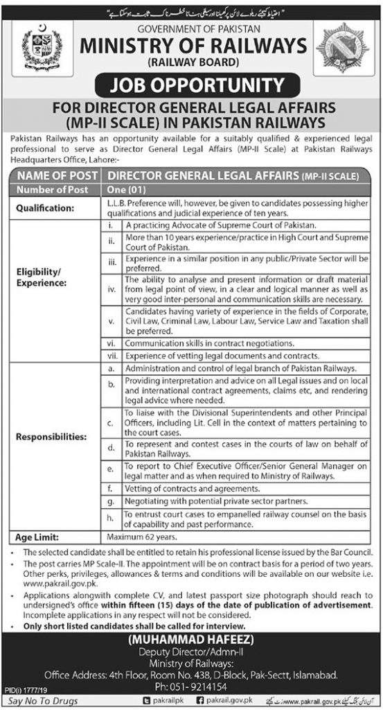 Apply For Director General Legal Affairs Job in Pakistan Railway