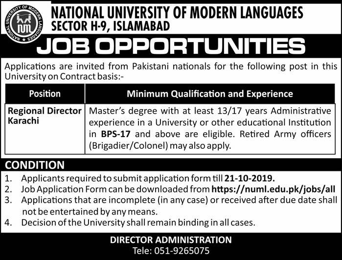Apply for Regional Director Job in National University of Modern Languages Islamabad