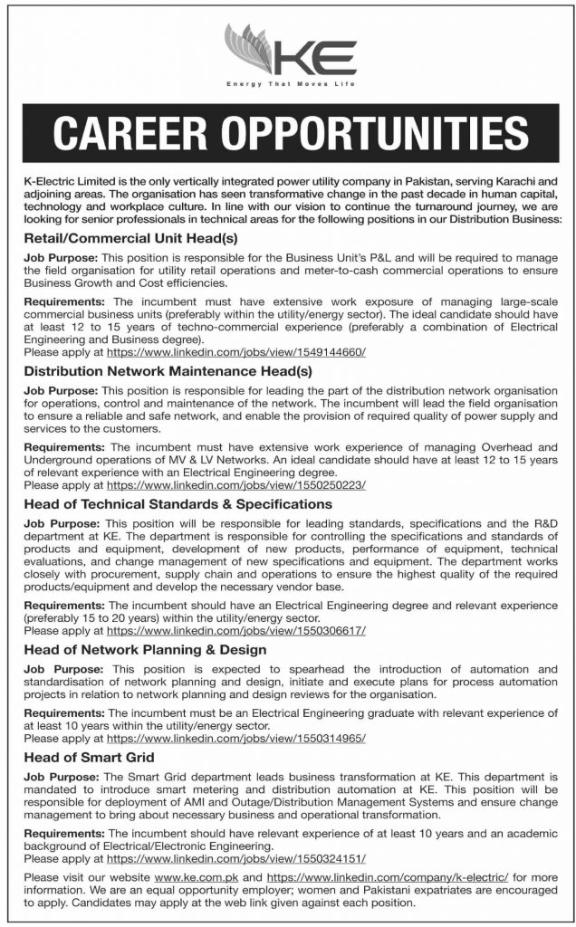 Apply for Technical Professionals in K-Electric 2019 Latest