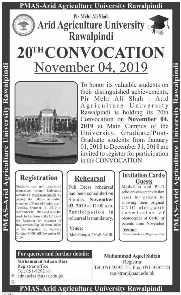 Arid Agriculture University Rawalpindi 20th Convocation 2019