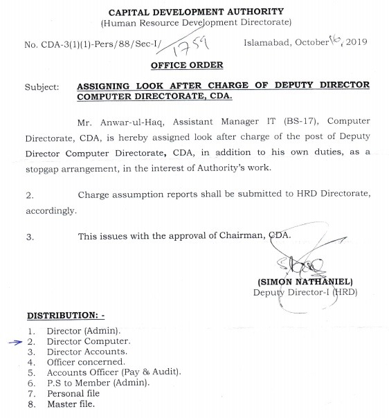 Assigning look after Charge of Deputy Director Computer Directorate CDA