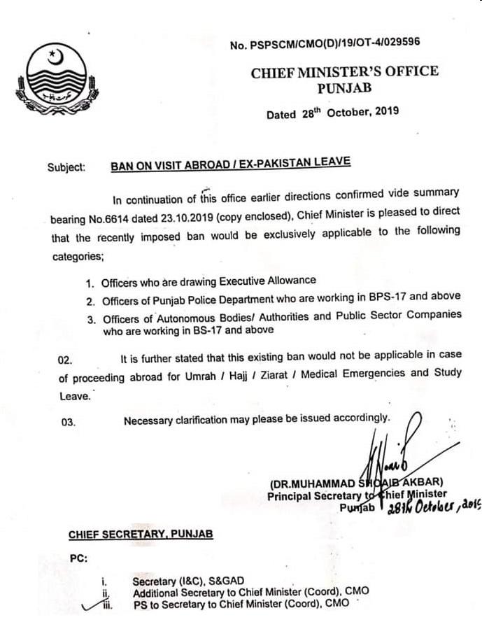 Ban on Ex Pakistan Leave & Visit Abroad Punjab