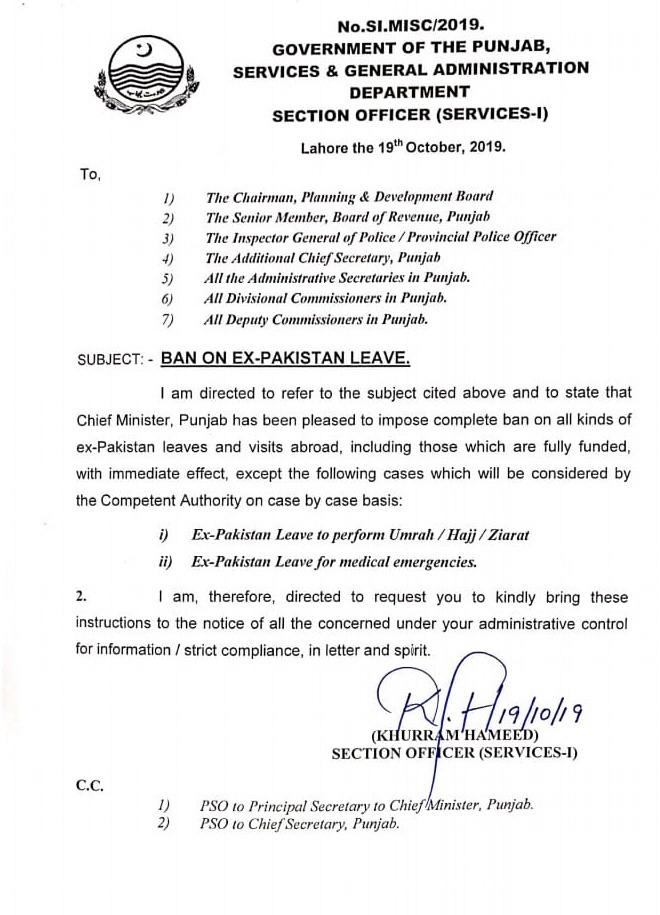 Ban on Ex Pakistan Leave