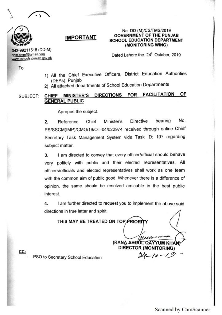 Chief Minister Punjab Directions for Facilitation of General Public