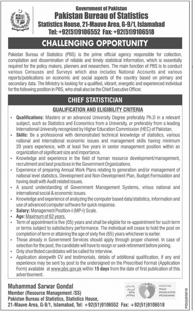 Chief Statistician Jobs in Pakistan Bureau of Statistics 2019 Latest