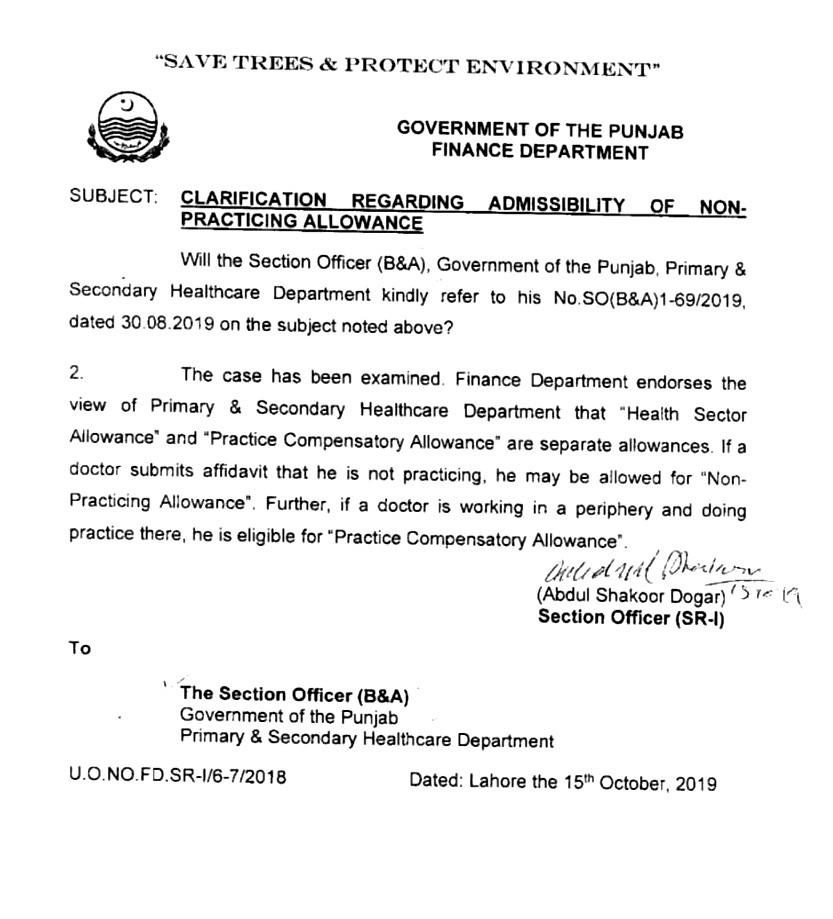 Clarification regarding Non-Practicing Allowance for Doctors