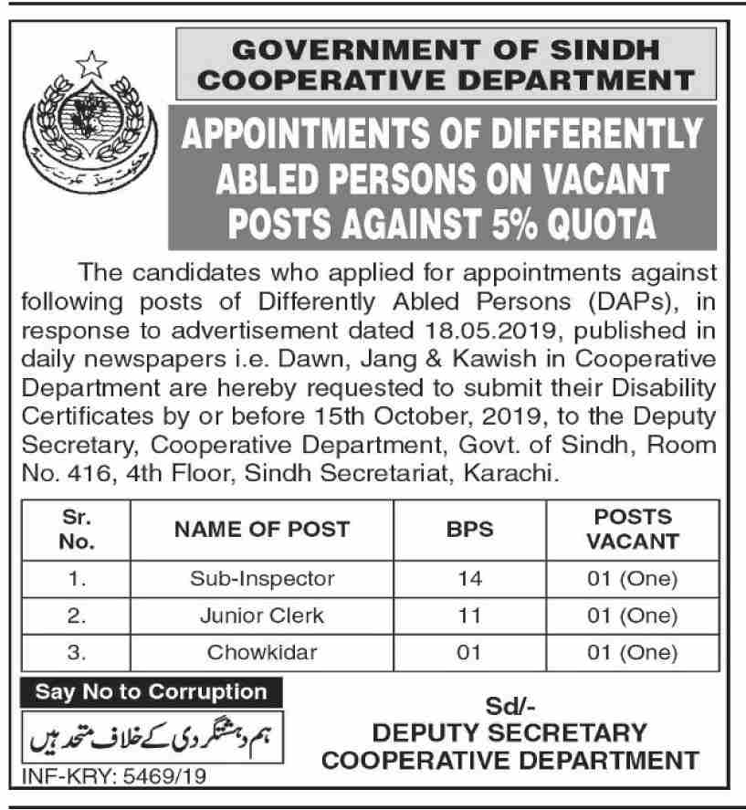 Cooperative Department Government of Sindh Job Advertisement 2019