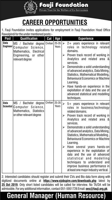 Data Engineer & Scientist Jobs in Fauji Foundation 2019 Latest