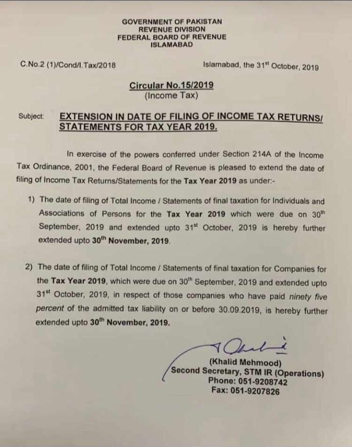 Deadline for Filing of Income Tax Returns Extended Till Nov 2019